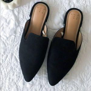 Shoes - Black Suede Mules